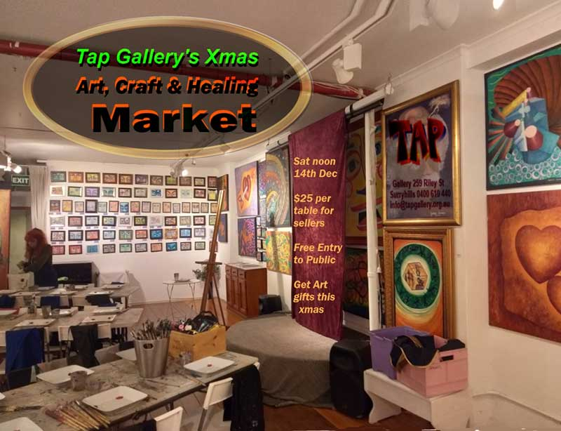 Indoor Xmas market at Tap gallery Saturday 14th December