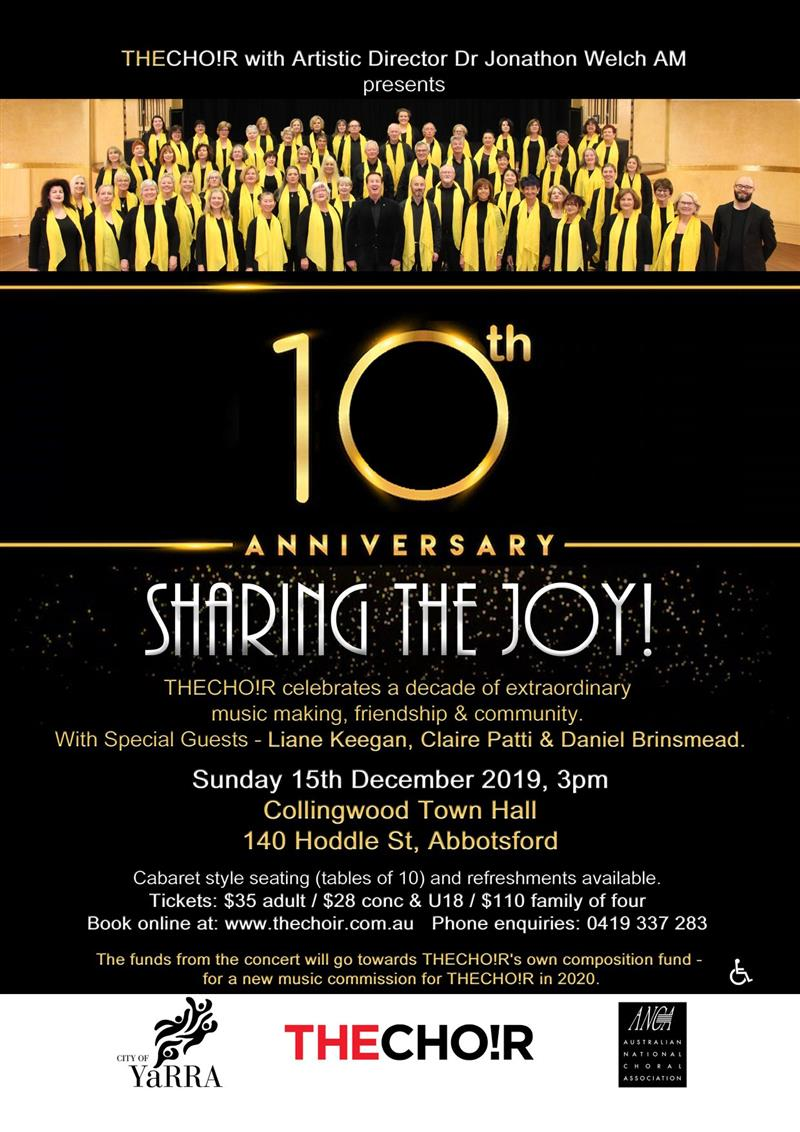 Celebrate THECHO!Rs tenth anniversary at Sharing The Joy, this Sunday at Collingwood Town Hall