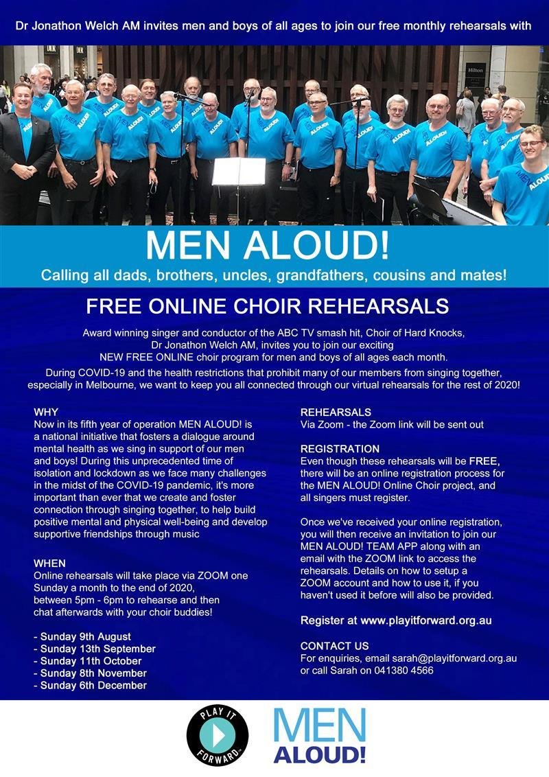 Dr Jonathon Welch AM invites men and boys of all ages to join MEN ALOUD! Online